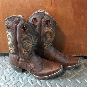 Boys Justin cowboy boots size 1D square pants toe